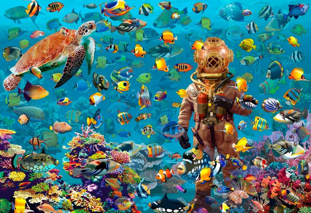 Puzzle Bluebird El Buzo Bajo el Mar de 260 Piezas