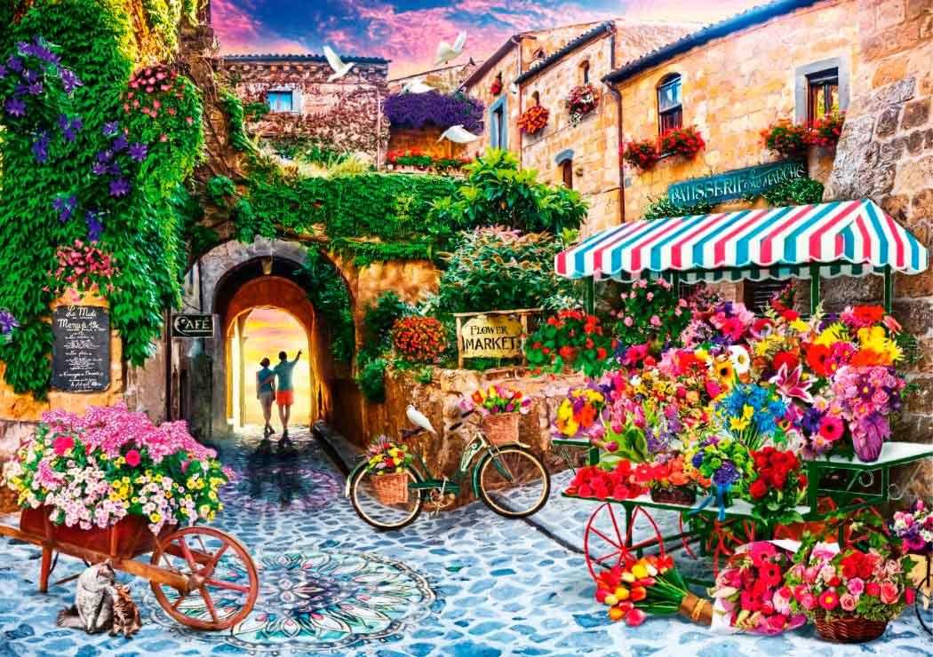 Puzzle Bluebird El Mercado de Flores de 1000 Piezas