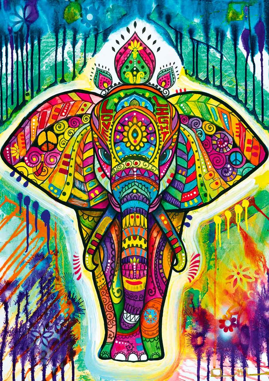 Puzzle Bluebird Elefante Colorido de 1000 Piezas