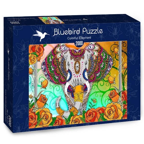 Puzzle Bluebird Elefante Lleno de Color de 2000 Piezas