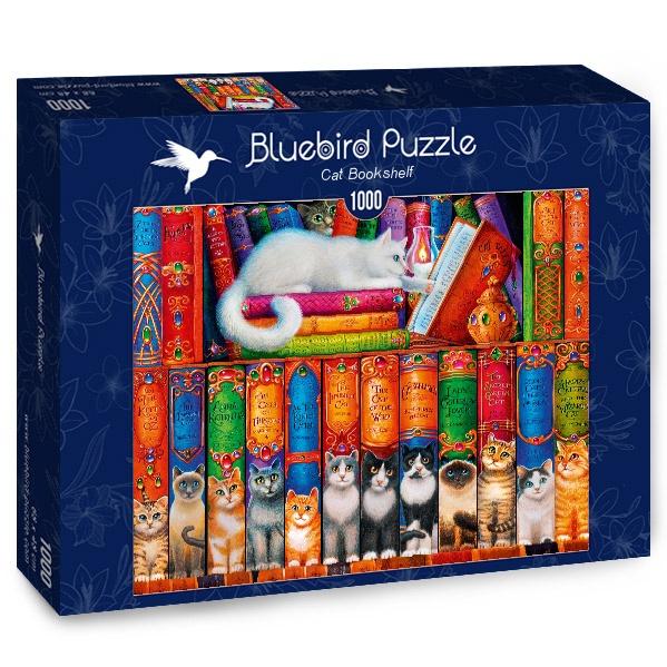 Puzzle Bluebird Estantería de Libros de Gatos de 1000 Piezas
