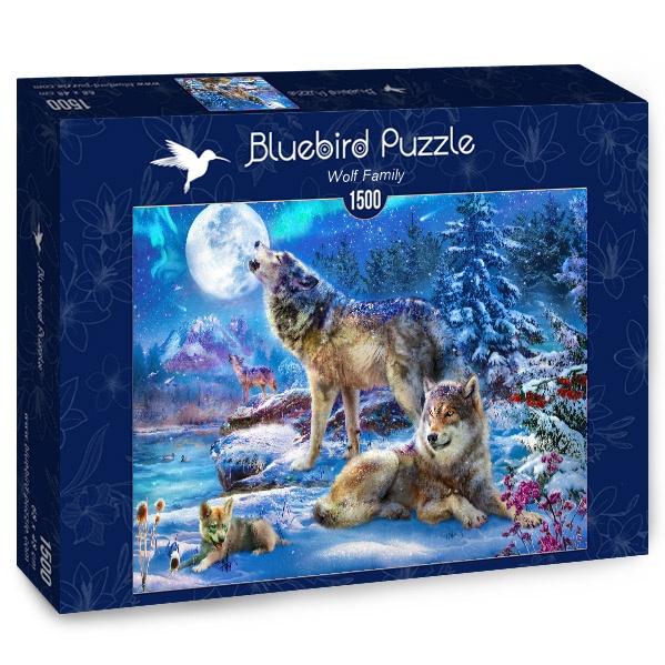 Puzzle Bluebird Familia de Lobos en Invierno de 1500 Piezas