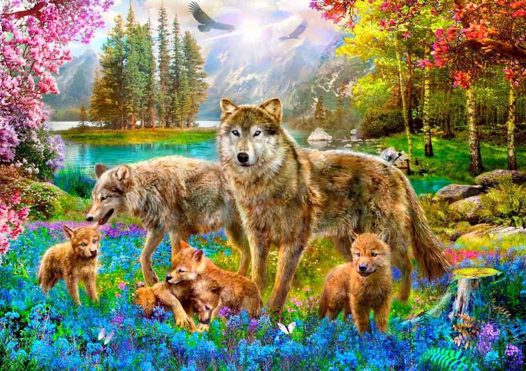 Puzzle Bluebird Familia de Lobos en Primavera de 1500 Piezas