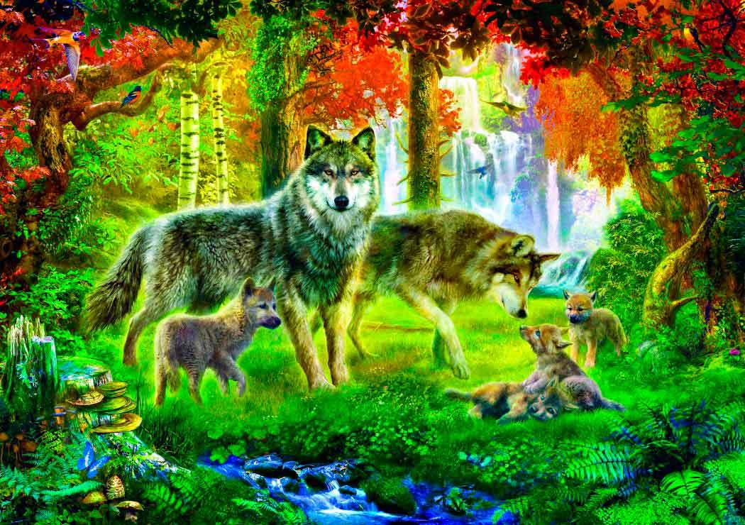 Puzzle Bluebird Familia de Lobos en Verano de 1000 Piezas