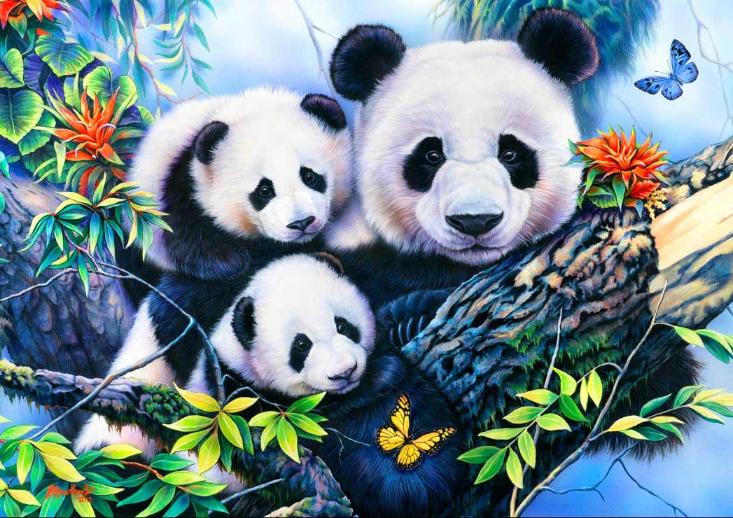 Puzzle Bluebird Familia de Pandas de 1000 Piezas