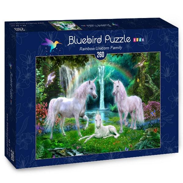Puzzle Bluebird Familia de Unicornios del Arcoiris de 260 Piezas
