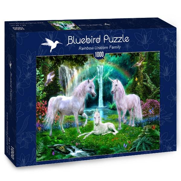 Puzzle Bluebird Familia Unicornio del Arcoiris de 1000 Piezas