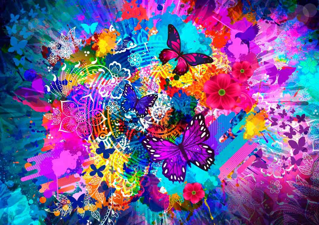 Puzzle Bluebird Flores y Mariposas de 1000 Piezas