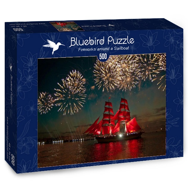 Puzzle Bluebird Fuegos Artificiales Alrededor de un Velero 500 p