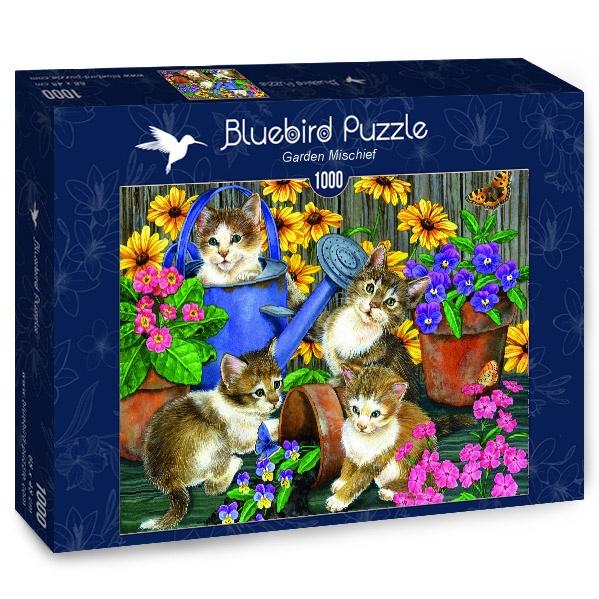Puzzle Bluebird Gatos Traviesos en el Jardín de 1000 Piezas