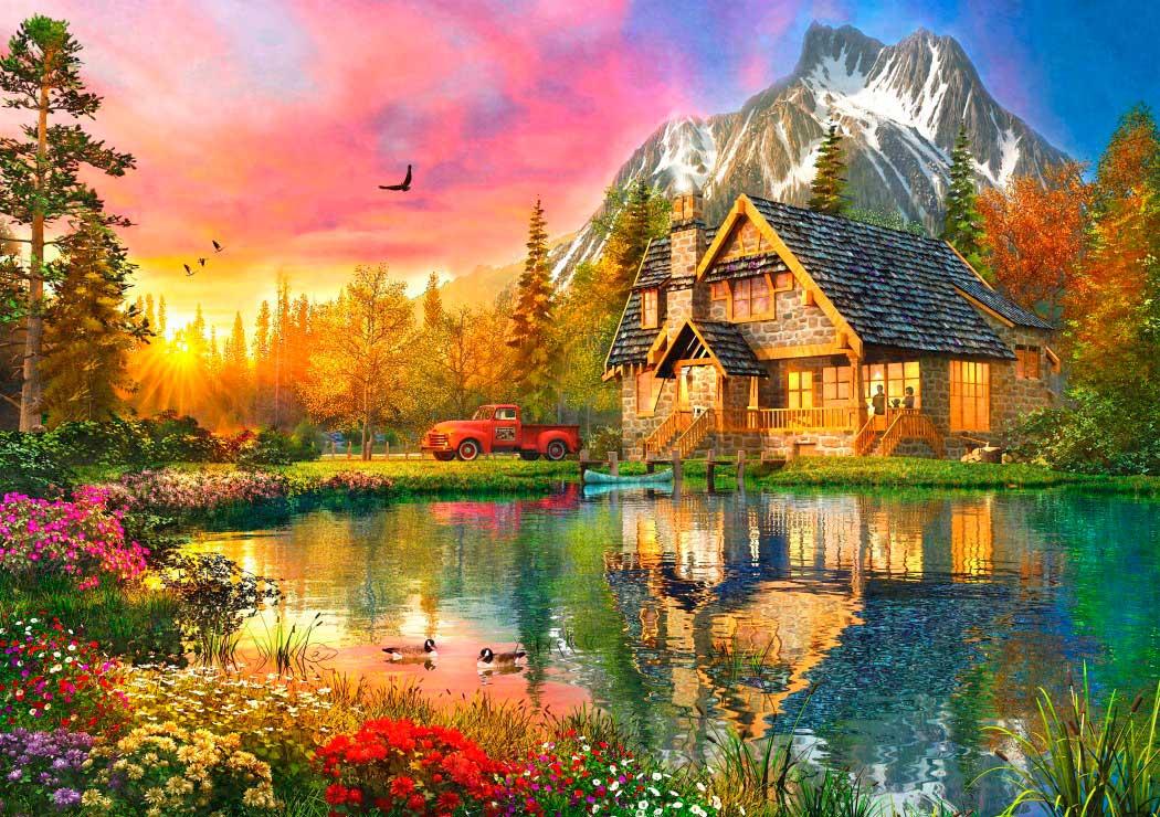 Puzzle Bluebird La Cabaña de la Montaña de 1000 Piezas
