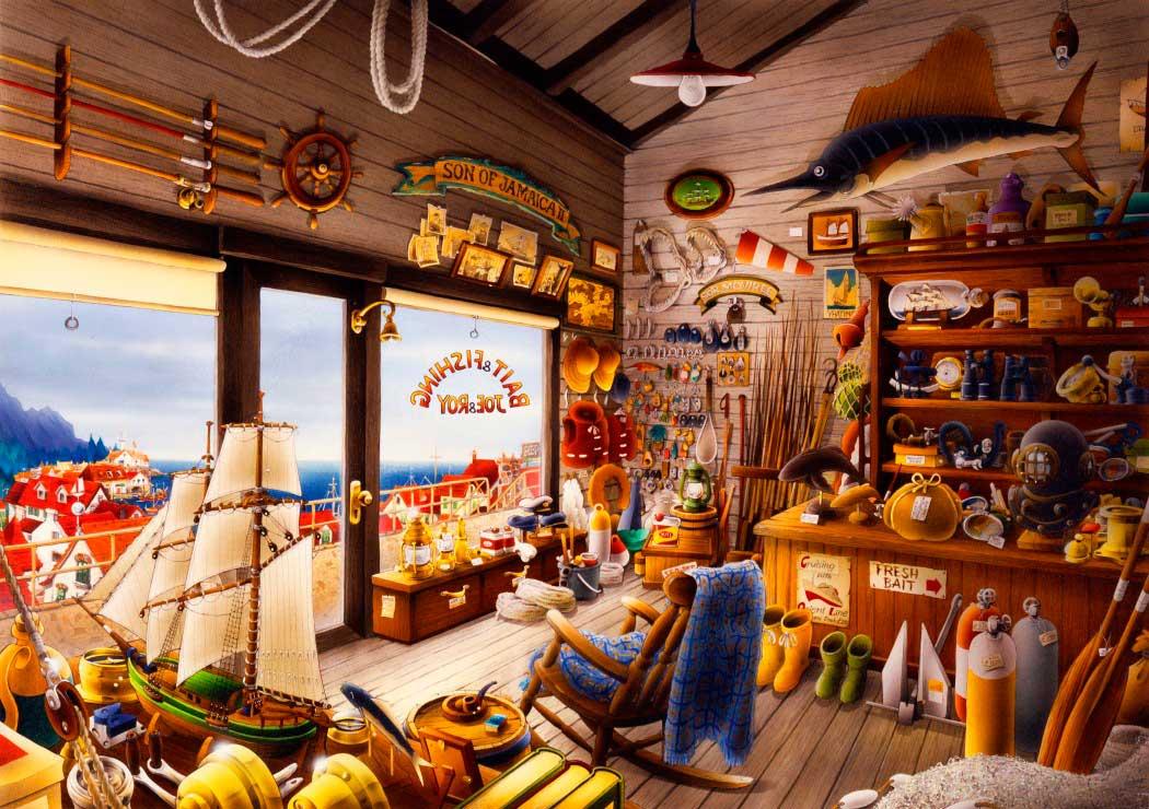 Puzzle Bluebird La Tienda de Pesca de Joe y Roy de 1000 Piezas