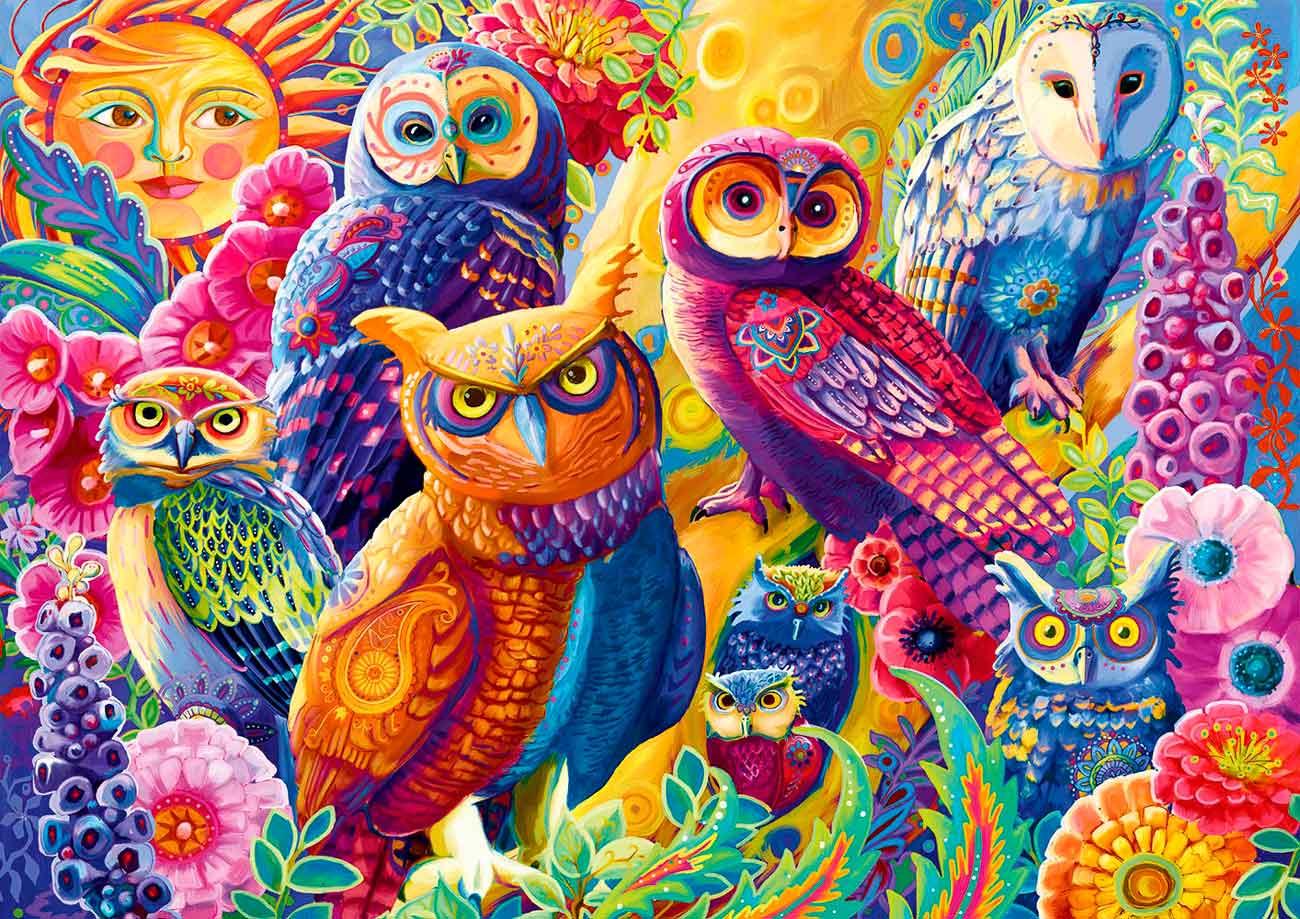 Puzzle Bluebird Buhos Coloridos de 1000 Piezas