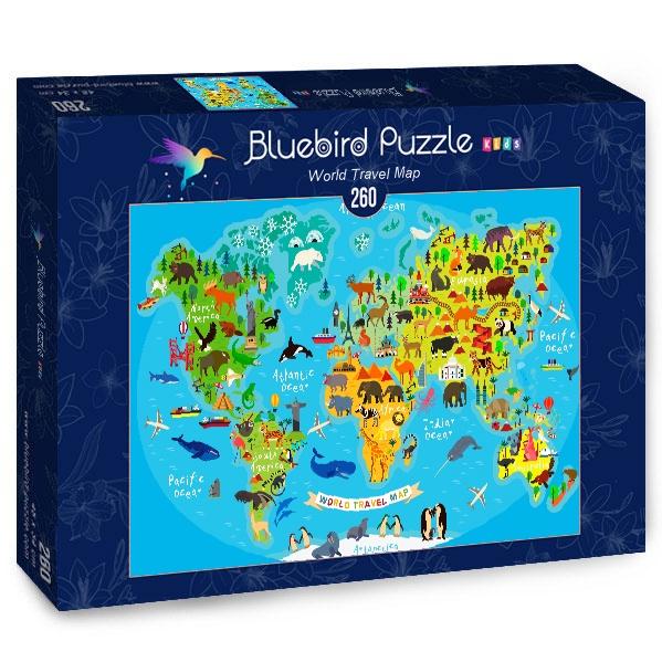 Puzzle Bluebird Mapa de Viajes Mundial de 260 Piezas
