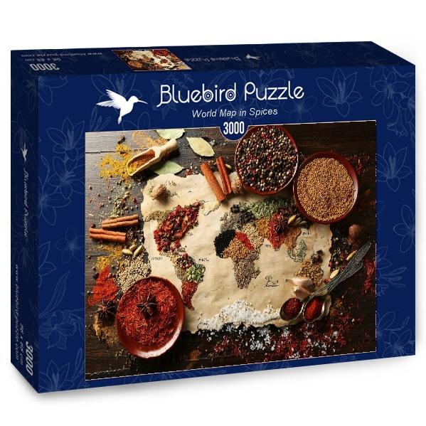 Puzzle Bluebird Mapa del Mundo en Especias de 3000 Piezas