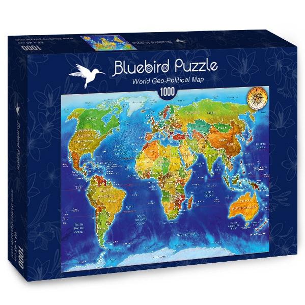 Puzzle Bluebird Mapa Geo-Político del Mundo de 1000 Piezas