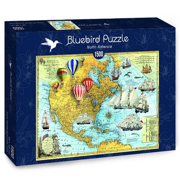 Puzzle Bluebird Mapa Vintage de Norteamérica de 1500 Piezas