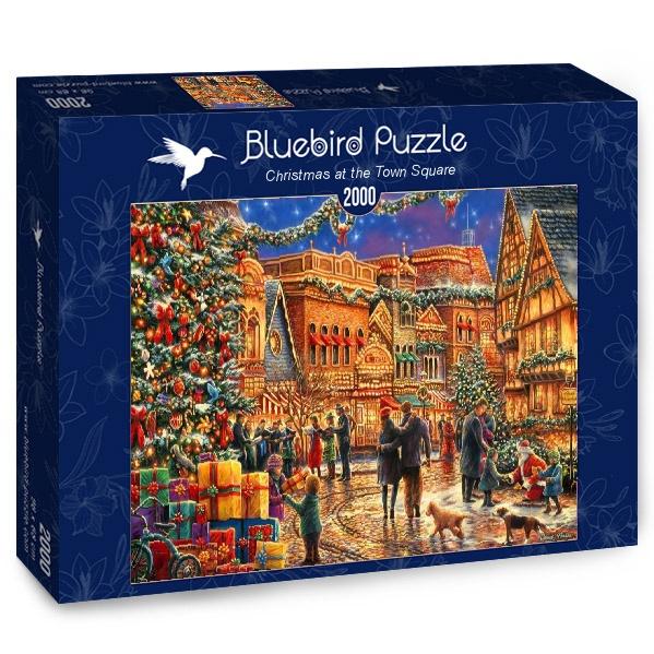 Puzzle Bluebird Navidad en la Plaza del Pueblo de 2000 Pzs