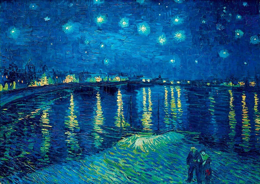 Puzzle Bluebird Noche estrellada sobre el Ródano de 1000 Piezas
