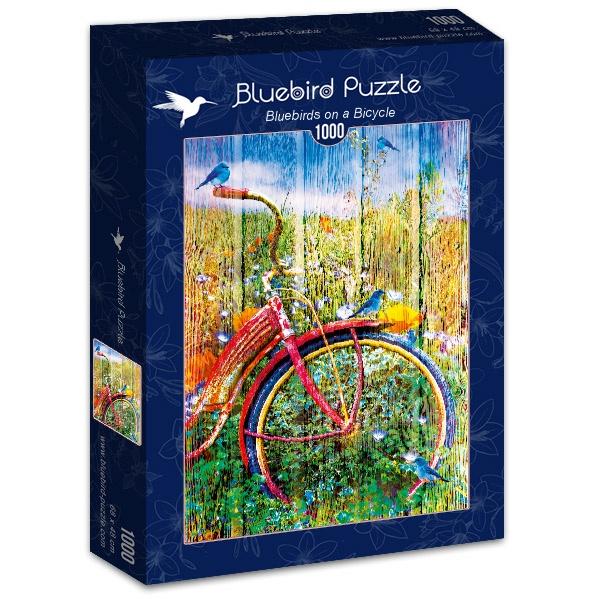 Puzzle Bluebird Pájaros Azules sobre la Bicicleta de 1000 Piezas