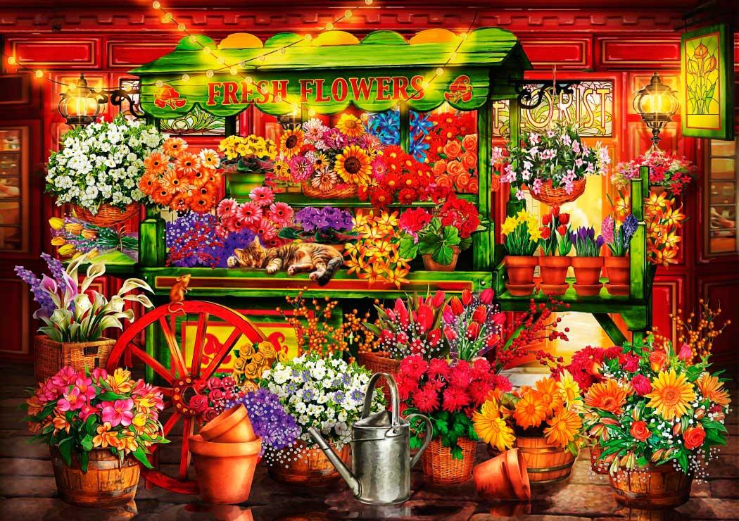 Puzzle Bluebird Puesto del Mercado de Flores de 1000 Piezas