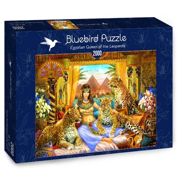 Puzzle Bluebird Reina Egipcia y sus Leopardos de 2000 Piezas