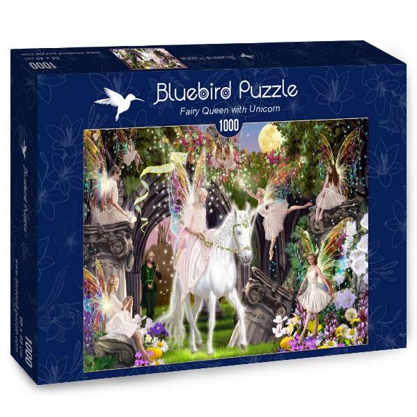 Puzzle Bluebird Reina Hada con Unicornio de 1000 Piezas