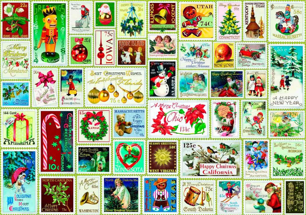 Puzzle Bluebird Sellos de Navidad de 1000 Piezas