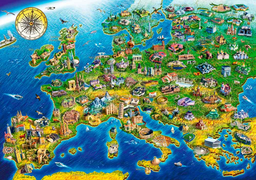 Puzzle Bluebird Símbolos de Europa de 1000 Piezas