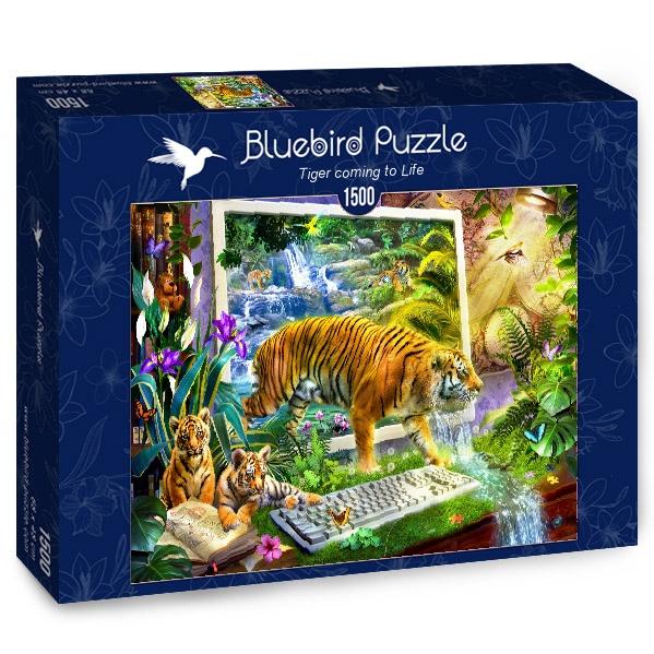 Puzzle Bluebird Tigre Cobrando Vida de 1500 Piezas