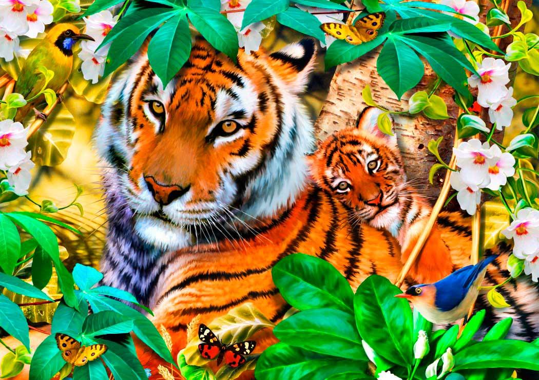 Puzzle Bluebird Tigres Entre las Sombras de 1500 Piezas