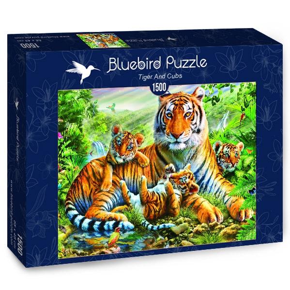 Puzzle Bluebird Tigresa con sus Cachorros de 1500 Piezas