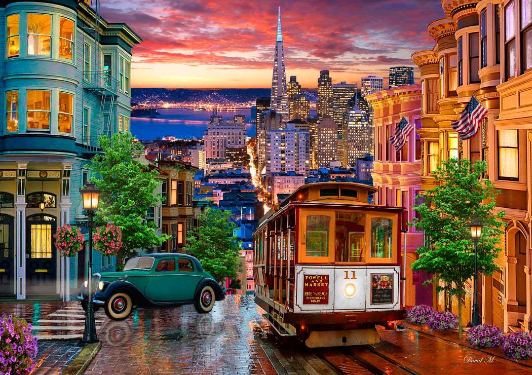 Puzzle Bluebird Tranvía de San Francisco de 1000 Piezas