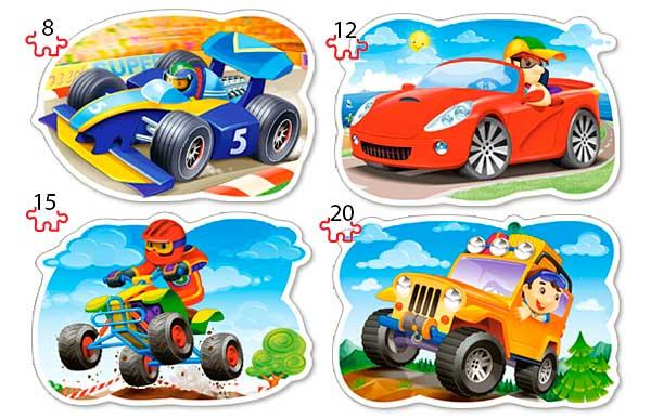 Puzzle Castorland 4x1 Conduce y Disfruta 8+12+15+20 Piezas