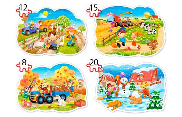 Puzzle Castorland 4x1 Cuatro Estaciones 8+12+15+20 Piezas
