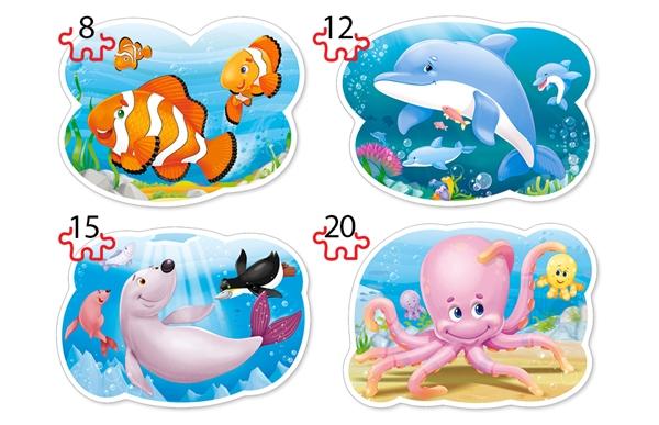 Puzzle Castorland 4x1 Mundo Submarino 8+12+15+20 Piezas