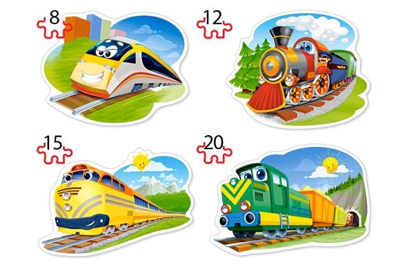 Puzzle Castorland 4x1 Trenes DIvertidos 8+12+15+20 Piezas