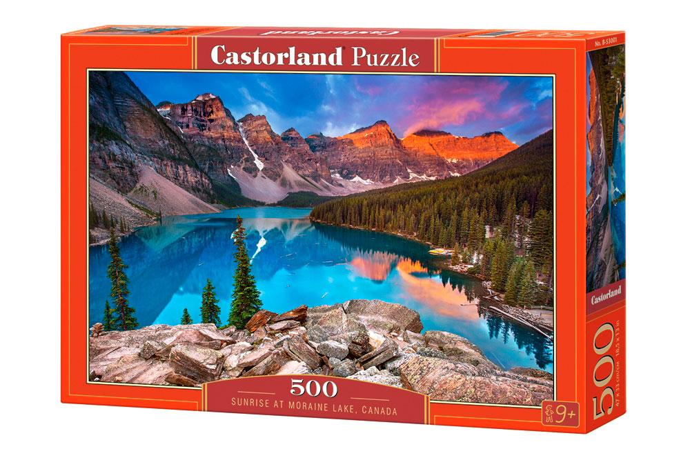Puzzle Castorland Amanecer en Lago Moraine, Canada de 500 Piezas