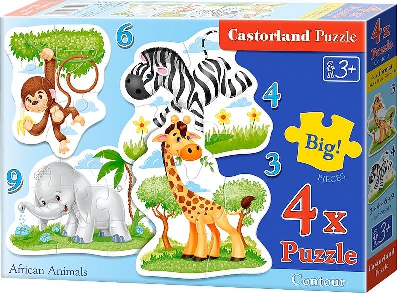 Puzzle Castorland Animales AfricanosProgresivo 3+4+6+9