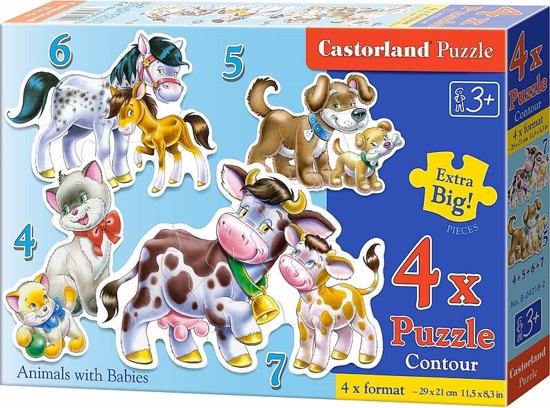 Puzzle Castorland Animales con su Bebé 4+5+6+7