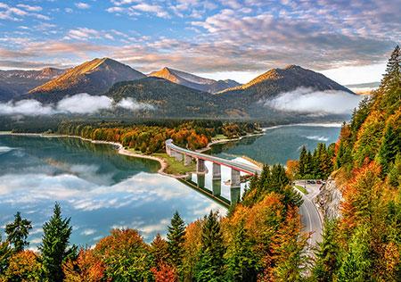 Puzzle Castorland Atardecer en el Lago Sylvenstein de 500 Piezas