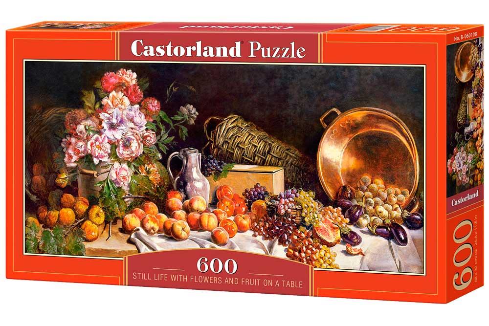 Puzzle Castorland Bodegón con Flores Y Frutas en Mesa 600 Piezas