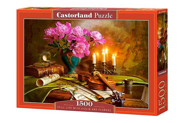 Puzzle Castorland Bodegón con Flores y Violín 1500 Piezas
