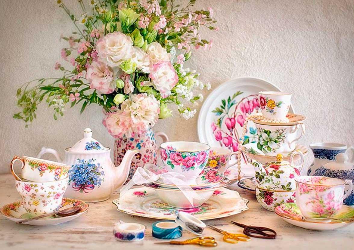 Puzzle Castorland Bodegón con Porcelana y Flores de 500 Piezas