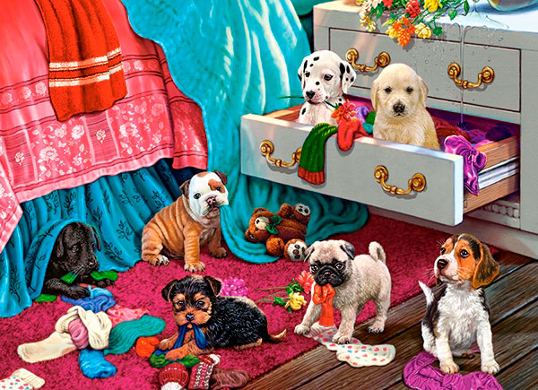 Puzzle Castorland Cachorros en la Habitación de 300 Piezas
