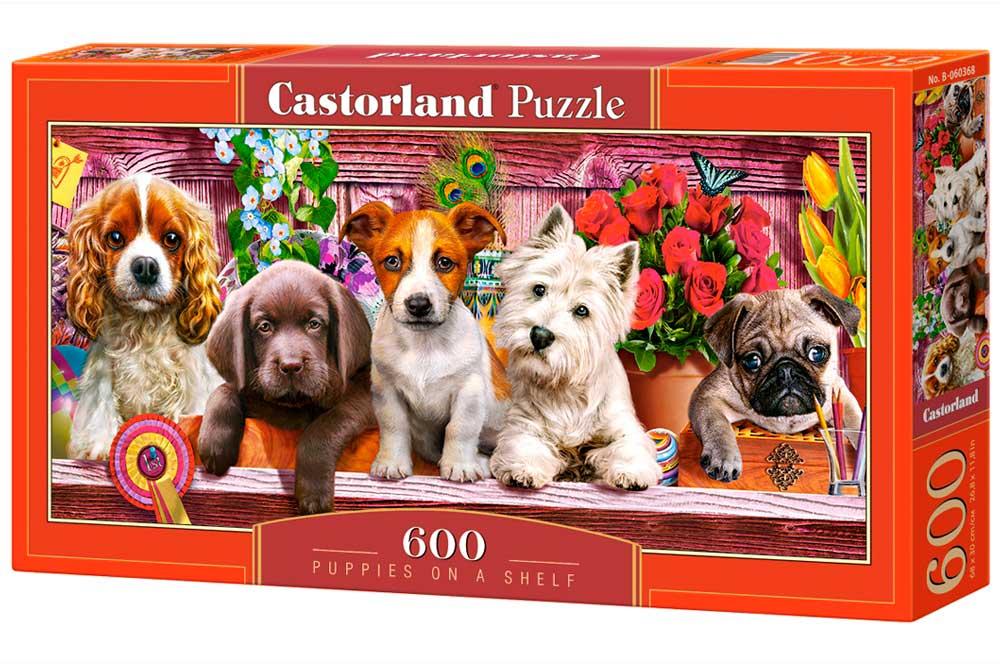 Puzzle Castorland Cachorros en un Estante de 600 Pzs