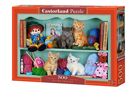 Puzzle Castorland Estantería de Gatitos de 500 Piezas