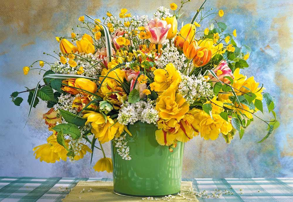 Puzzle Castorland Flores de Primavera en Jarrón Verde de 1000 P.