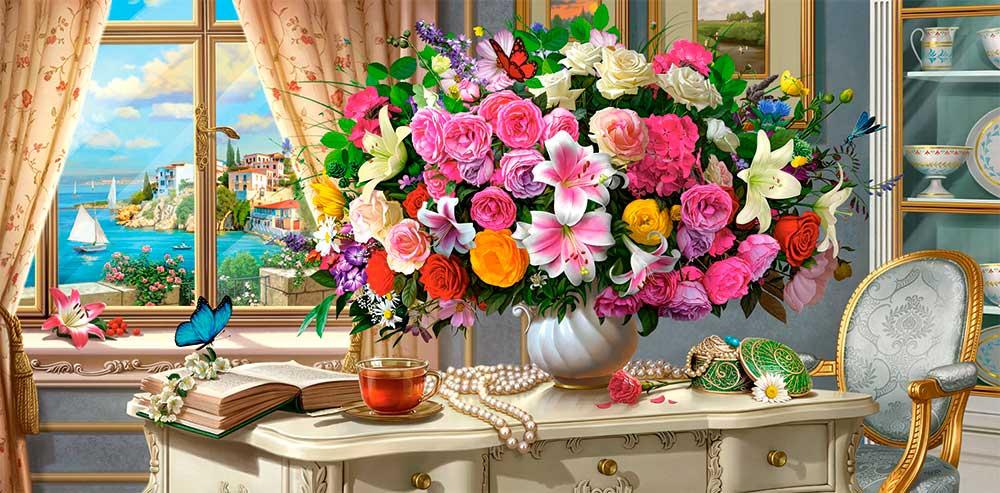 Puzzle Castorland Flores de Verano y Taza de Té de 4000 Piezas