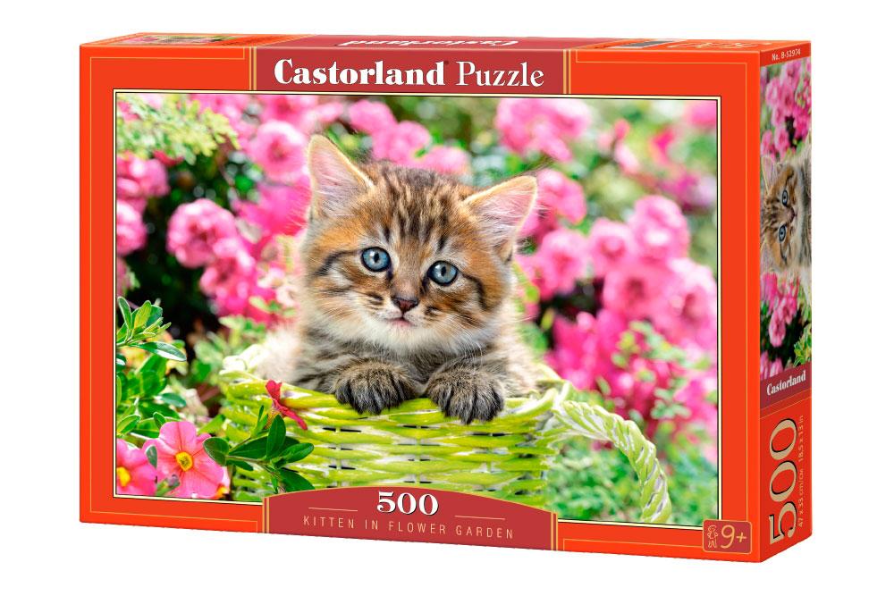 Puzzle Castorland Gatitos en Jardín Florido de 500 Piezas